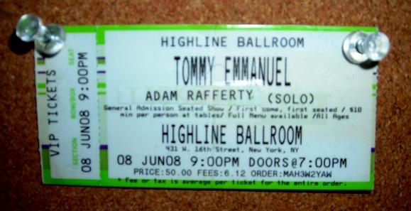 Adam Rafferty creates Tommy Emmanuel Ticket for Vision Board